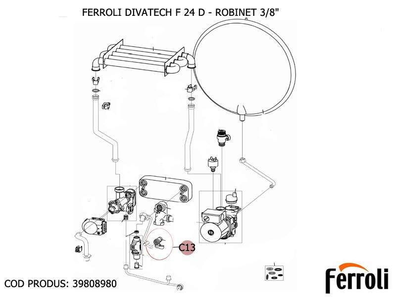 Poza Robinet 3/8 centrale termice Ferroli Divatop F, Divatech F 24 D, Econcept Tech 35 A