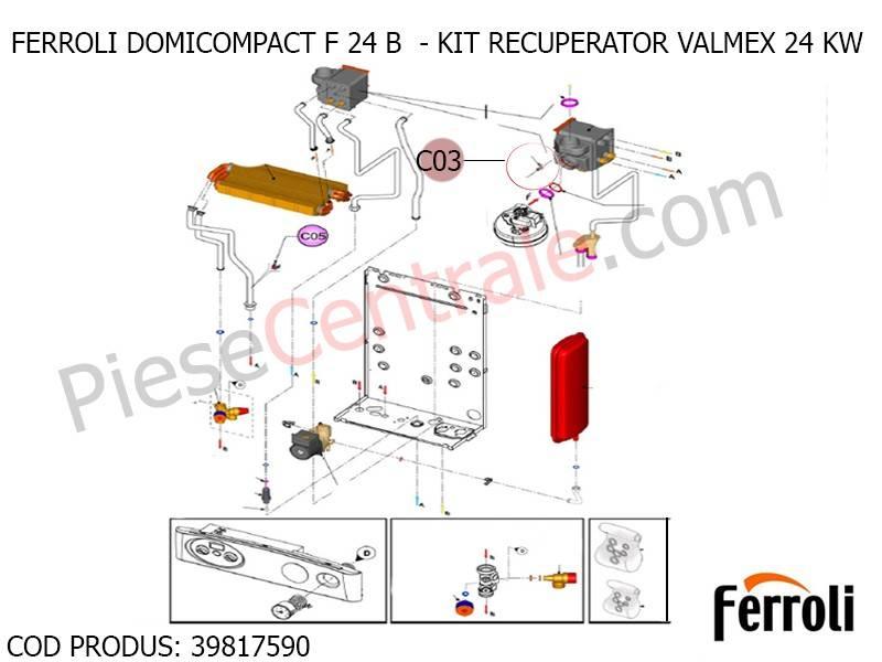Poza Kit recuperator Valmex 24 kw pentru centrala termica Ferroli Domicompact B