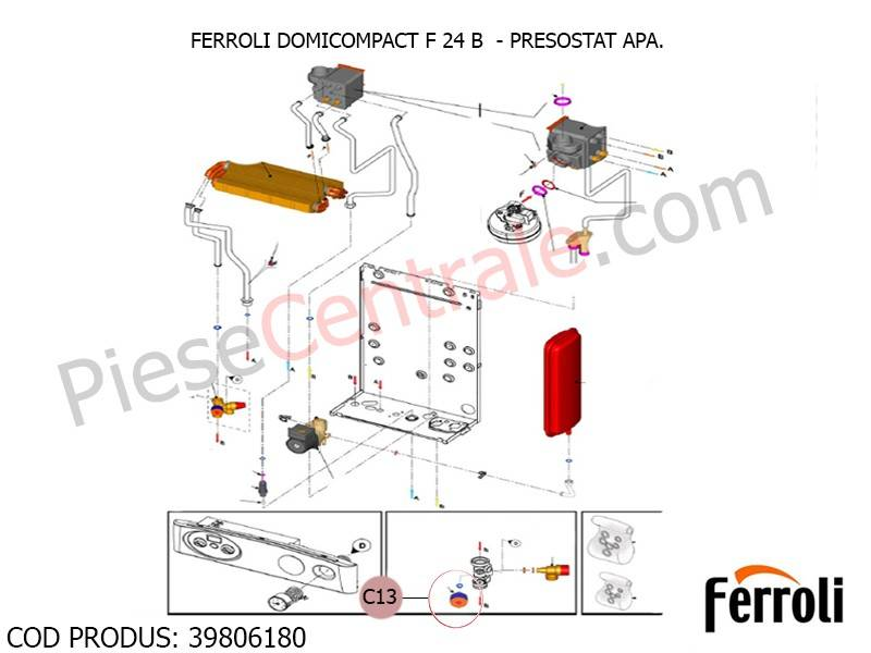Poza Presostat apa pentru centrale termice Ferroli Domicompact F, Econcept, Energy Top