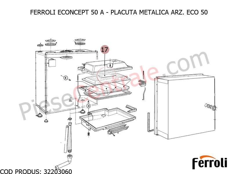 Poza Placuta metalica ARZ. ECO 50 pentru centrala Ferroli Econcept 50 A