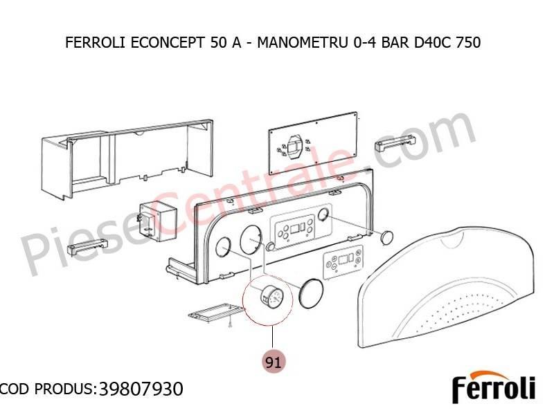 Poza Manometru 0-4 BAR D40C 750 pentru centrala Ferroli Econcept 50 A