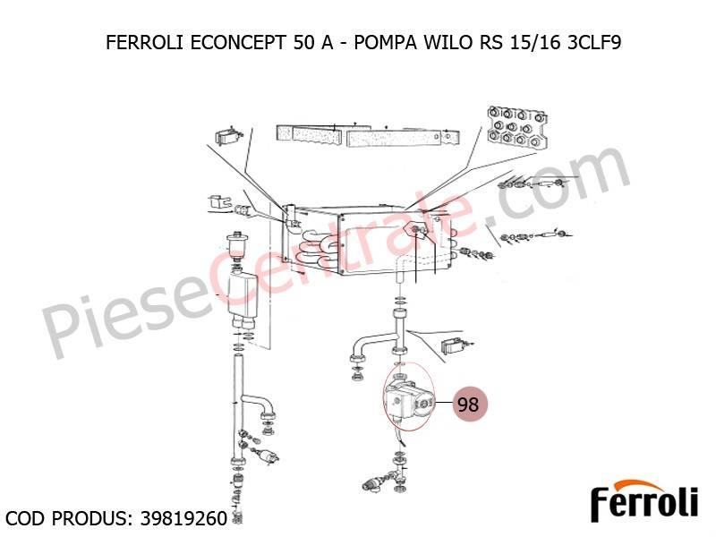 Poza Pompa WILO RS 15/16 3CLF9 centrala termica Ferroli Econcept 50 A