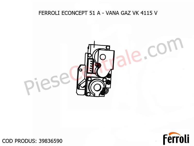 Poza Vana gaz VK 4115 V centrala termica Ferroli Econcept 51 A