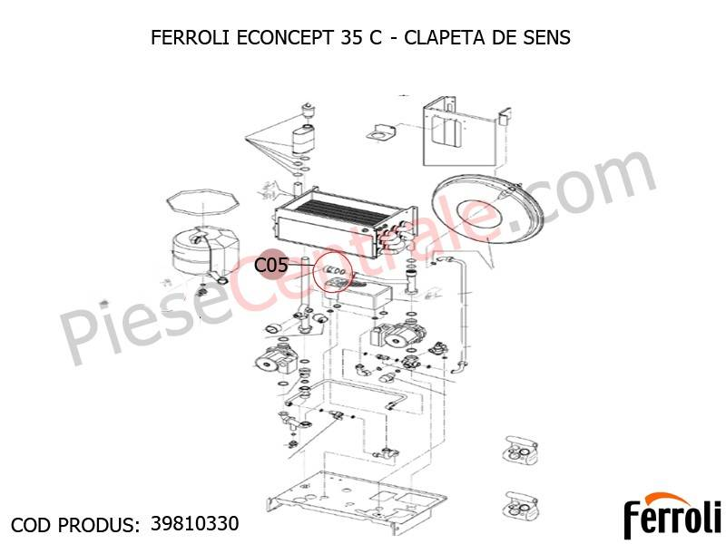 Poza Clapeta sens centrala termica Ferroli Econcept