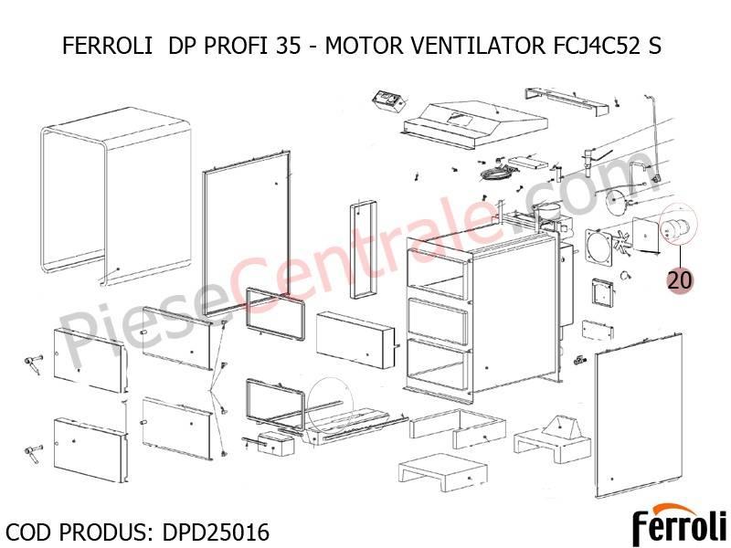 Poza Motor ventilator FCJ4C52 S centrala pe lemne Ferroli DP