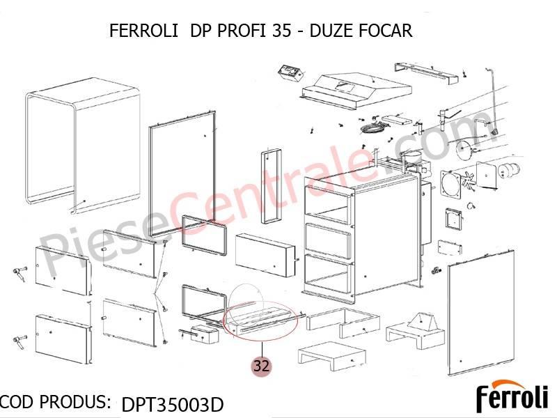 Poza Duze focar centrala pe lemne Ferroli DP 35 Profi