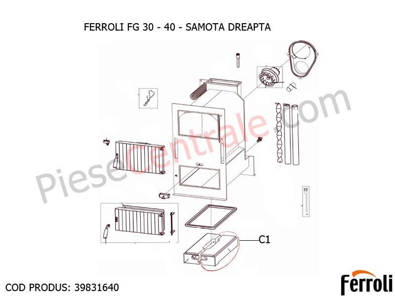 Poza Samota dreapta pentru centrala pe lemne Ferroli FG