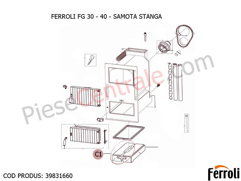 Poza Samota stanga pentru centrala pe lemne Ferroli FG