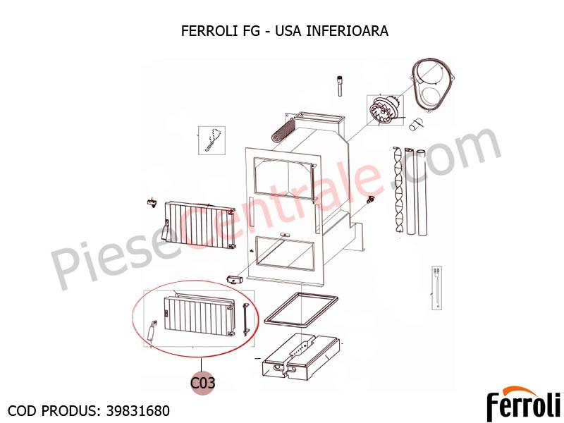 Poza Usa inferioara pentru centrala pe lemne Ferroli FG