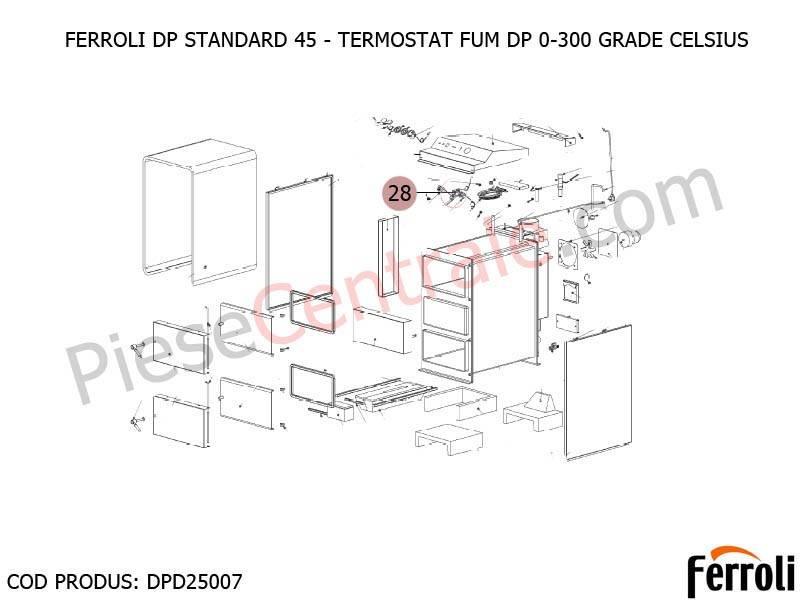 Poza Termostat fum 0-300 grade celsius centrala pe lemne Ferroli DP Standard