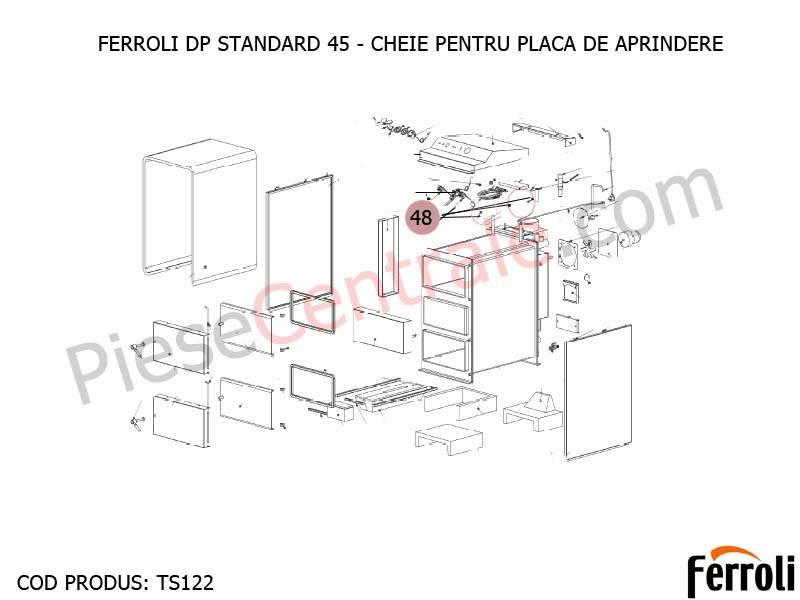 Poza Cheie pentru placa de aprindere centrala pe lemne Ferroli DP Standard