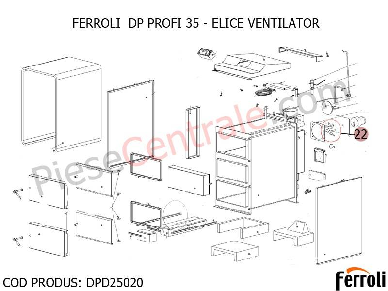 Poza Elice ventilator centrala pe lemne Ferroli DP