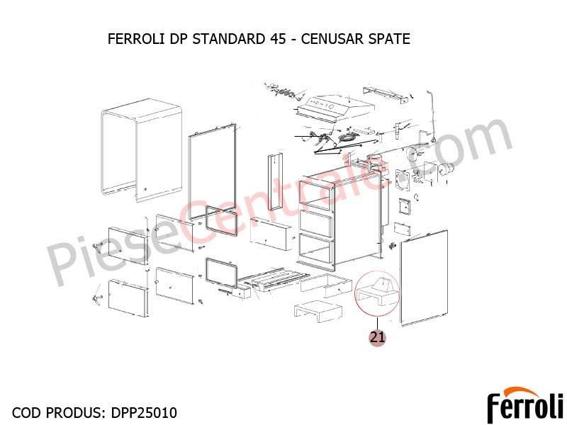 Poza  Cenusar spate centrala pe lemne Ferroli DP Standard