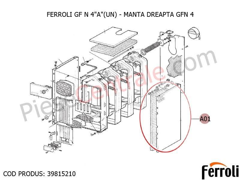 Poza Manta dreapta centrala pe lemne Ferroli GF N