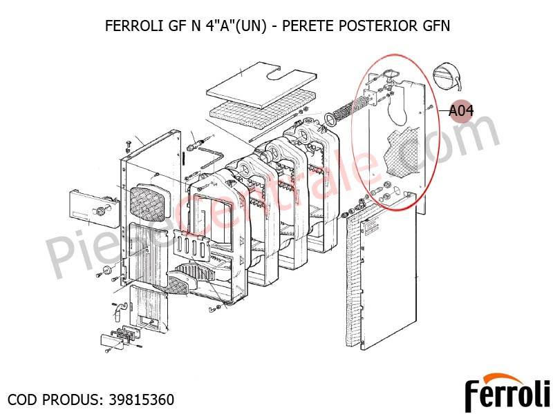 Poza Perete posterior centrala pe lemne Ferroli GF N