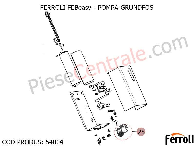 Poza Pompa Grundfos centrala electrica Ferroli Febeasy 08