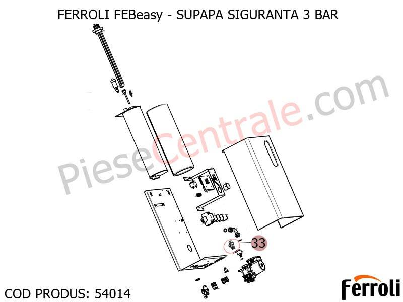 Poza Supapa siguranta 3 bari centrala electrica Ferroli Febeasy 08