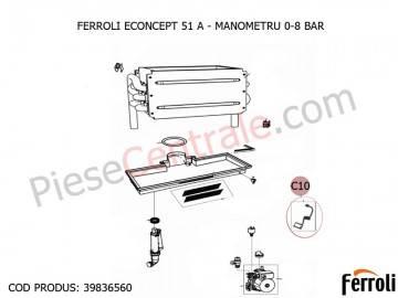 Poza Manometru 0-8 bari centrala termica Ferroli Econcept