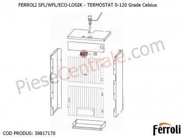 Poza Termostat 0-120 grade celsius pentru centrale pe lemne Ferroli SFL, WFL, ECO LOGIC