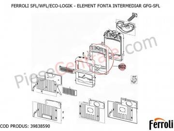 Poza Element fonta intermediar pentru centrale pe lemne Ferroli SFL, WFL, ECO LOGIC
